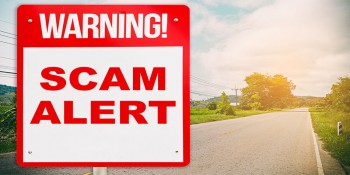 Image that depicts a scam alert ahead