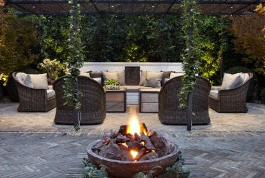 Image of an outdoor living space (looks like a living room but outdoors)